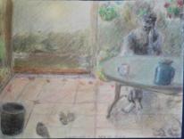 Im garten, Selbstportrait, Pastellmalerei, Malerei