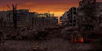 Digitale malerei, Dark age, Dystopian landscape, Blender