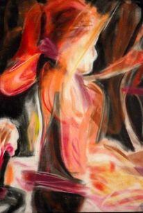 Expressionismus, Tanz zum karneval, Pastellmalerei, Malerei