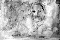 Acrylmalerei, Portrait, Kaltnadelradierung, Tiefdruck