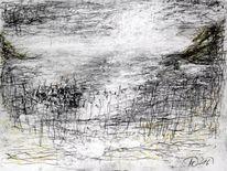 Kohlezeichnung, Pastellmalerei, Meerufer, Die see
