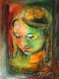 Tiefdruck, Portrait, Kaltnadelradierung, Pastellmalerei