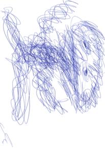 Abstrakt, Portrait, Zeichnung, Blau