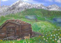 Landschaft, Reh, Berge, Hütte