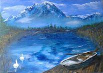 Berge, Landschaft malerei, Schlafende hexe, Wasser