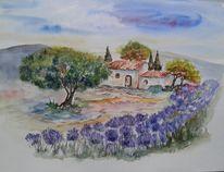 Provence, Südfrankreich, Lavendel, Aquarell