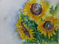 Blätter, Sonnenblumen, Blüte, Malerei