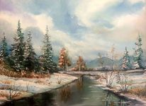 Natur, Winter, Fluss, Malerei