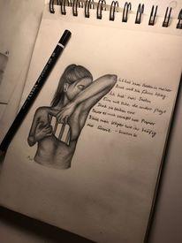 Leben, Zerreißen, Ruhe, Bleistiftzeichnung