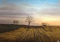 Baum, Feld, Landschaft, Malerei