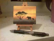 Afrika, Sonnenuntergang, Malerei,