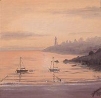 Hafen, Schiff, Meer, Malerei