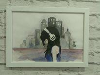 Malerei, Stadt, Aquarellmalerei, Skyline