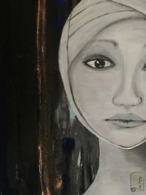 Frau, Nachtleuchtende farben, Tschernobyl, Modern art