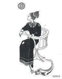 Frau, Nebenbeigekritzel, Leguan, Childfree