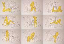 Körper, Gelb, Zeichnungen,