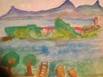 Insel, Blau, Berge, Boot