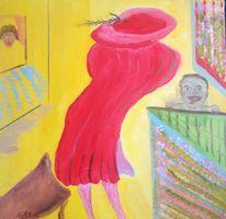 Entsetzte, Gierige augen, Frau, Rote kleid
