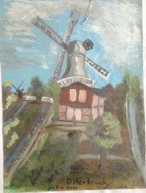 Wolken, Mühle bei osterbruch, Landschaft, Malerei