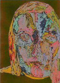 Portrait, Figural, Expressionismus, Mischtechnik
