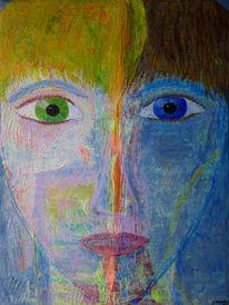 Gesicht, Teilung, Augen, Abstrakt