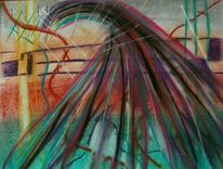 Aquarellmalerei, Surreal, Rot schwarz, Grün