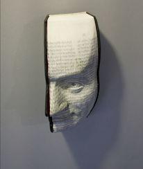 Buch, Augen, Skulptur, Menschen