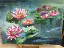 Ölmalerei, Blumen, Seerosen, Malerei