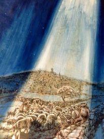 Weihnachten, Engel, Hirten schafe, Malerei