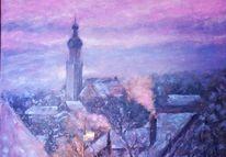 Dorf, Kälte, Frost, Malerei