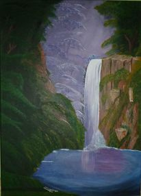 Wald, Wasserfall, Berge, Wasser