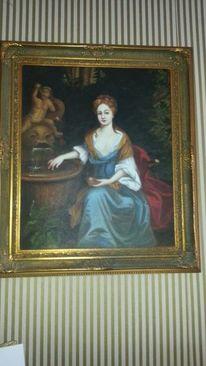 Gemälde, Frau, Hilfe, Pinnwand