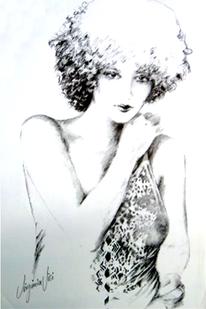 Portrait, Bluse, Mädchen, Zeichnung