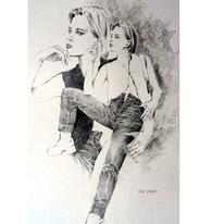 Zeichnung, Mädchen, Figural, Frau