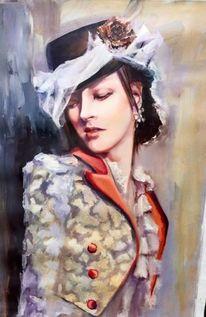 Frau, Malerei, Portrait, Retro