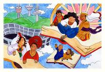 Kinder, Stadt, Buch, Schule