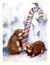Weihnachten, Tanne, Zuckerstange, Hamster