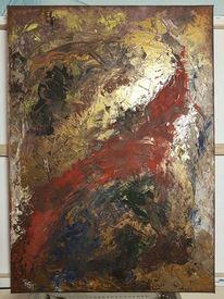 Acrylmalerei, Gold, Malerei abstrakt, Rot