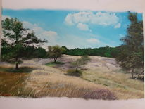 Landschaft, Baum, Heide, Malerei