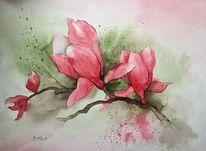 Magnolien, Blumen, Aquarellmalerei, Malerei