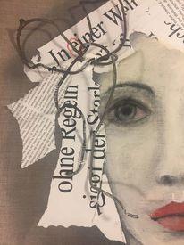 Malerei, Portrait, Leinen, Frau