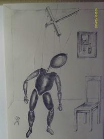 Marionette, Zeichnung, Melancholie, Bleistiftzeichnung