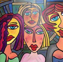 Menschen, Gesicht, Frau, Abstrakt