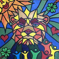 Tiere, Abstrakt, Löwe, Malerei