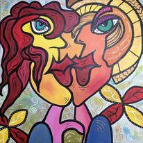 Malerei, Gesicht, Menschen, Abstrakt