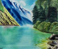 Baum, Natur, See, Ölmalerei