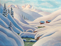 Winter, Schnee, Berge, Aquarell