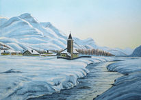 Winter, Berge, Schnee, Aquarell