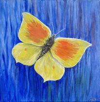 Gelb, Schmetterling, Blau, Malerei