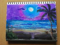 Landschaft, Strand, Wasser, Nacht